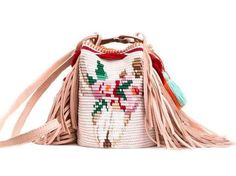 NEW ARRIVAL This one-of-a-kind DreamC Special Edition Boho Bag is tightly handwoven by one strand of Fine Cotton thread and has genuine leather details. Crotchet Bags, Knitted Bags, Tapestry Bag, Tapestry Crochet, Mochila Crochet, Modern Crochet, Summer Knitting, Crochet Purses, Crochet For Beginners