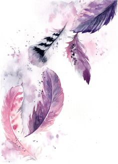 Buy Purple Feathers, Watercolour by Sophie Rodionov on Artfinder.