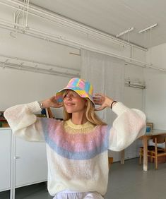 Rainbow sweater and bucket hat 💜💛🦋🌼 Look Fashion, Fashion Outfits, Womens Fashion, Jackets Fashion, Fashion Mask, Fashion Weeks, Petite Fashion, 80s Fashion, French Fashion