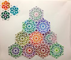 Geometric 'tiles' arranged from the geometric stencilling workshop by artist Ayesha Gamiet held in Doha, Qatar, 2012