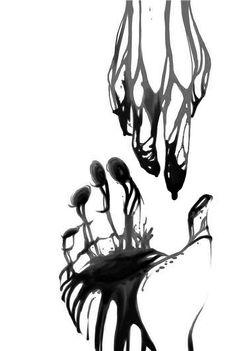 How it feels. Anime Hand, Art Sketches, Art Drawings, Tinta China, Hand Art, Art Inspo, Art Reference, Creepy, Cool Art