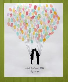 Wedding Guest Book Alternative - Fingerprint Balloon and your Silhouette made from your photos