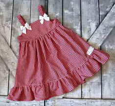 Girls Red Gingham Dress Baby Girl Dress Toddler by TootandPuddle Red dress 12 18 months no interest - Fashion dress weekly Navy and White girls Gingham D Baby Girl Dress Patterns, Baby Dress Design, Frock Design, Kids Frocks Design, Baby Frocks Designs, Fashion Kids, Baby Girl Fashion, Toddler Dress, Toddler Outfits