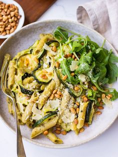 Delicious pesto pulse pasta is a healthy vegetarian dinner that's really easy to make. Gluten free pulse pasta is cooked with pesto, oven roasted zucchini, parmesan, lemon and pine nuts. Simple, fresh and ready in no time. Vegetarian Pasta Recipes, Pasta Dinner Recipes, Vegetarian Dinners, Healthy Recipes, Vegetarian Roast Dinner, Vegetarian Sandwiches, Going Vegetarian, Raw Recipes, Vegetarian Breakfast