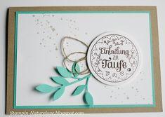 Einladung Taufe Stampin up - blau von naturelove auf DaWanda.com