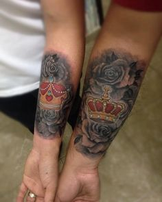 Matching High-Contrast Forearm Crown with Roses Tattoos