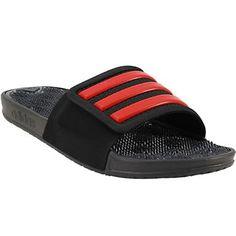 2321b0e6b9c329 Adidas Adissage 2 Stripes Slide Sandals - Mens Black Red Mens Slide Sandals