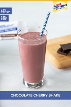 Near Year's resolutions can include starting each day with great nutrition. Try our delicious Chocolate Cherry Smoothie featuring Carnation Breakfast Essentials® products with protein plus vitamins & minerals in each prepared serving. Cherry Smoothie, Smoothie Drinks, Smoothie Recipes, Breakfast Smoothies, Healthy Smoothies, Healthy Drinks, Chocolate Cherry, Delicious Chocolate, Yummy Drinks