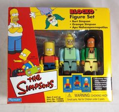 Simpsons Blocko Figures 3-Pack Set Bart Grandpa Apu Kwik-E-Mart 2002 Playmates #PlaymatesToys
