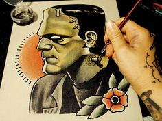 by Quyen Dinh, frankenstein tattoo would be cool, but it would have to be Mary Shelley's version