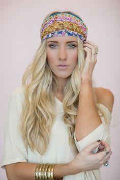 ThreeBirdNest Estilo Boho, Scarf Hairstyles, Cute Hairstyles, Hippie Bohemian, Hippie Chic, Boho Headband, Headbands, Head Wrap Scarf, Head Scarfs