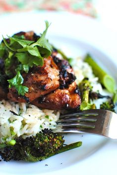 Grilled Hawaiian Chicken with Coconut-Cilantro Rice by bevcooks #Chicken #Rice #Coconut #Cilantro