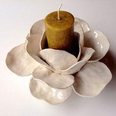 Smaller ceramic flower candle holder