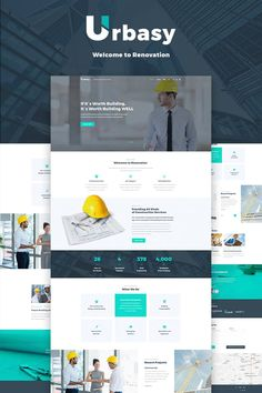 Urbasy - Construction Company WordPress Theme- Idea for a custom home builder website design. Trending web design modern and sleek site for builder or remodeler Design Web, Modern Web Design, Page Design, Graphic Design, Blog Design, Template Web, Wordpress Template, Psd Templates, Website Template