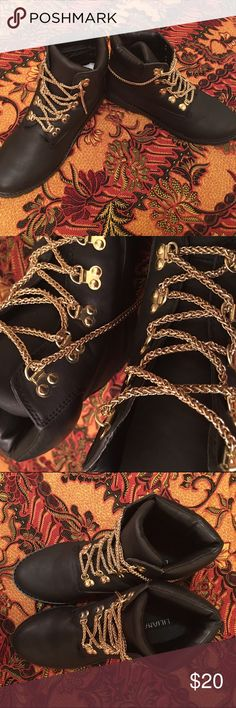 """Combat  boots Only wore these boots one time indoor , the bottoms are clean! Black Combat style !  Love the gold detail you can even swap out the """"gold shoe string """" for any laces of your choice and still keep the gold bracket details  ! . Very comfy  and true to size ! Shoes Combat & Moto Boots"""