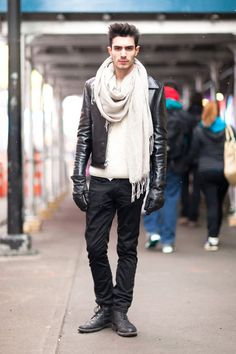 #scarf Guys do it so well in Paris.  You can pick the French guy.... he`s in shorts, a tee and sneakers with a scarf around his neck
