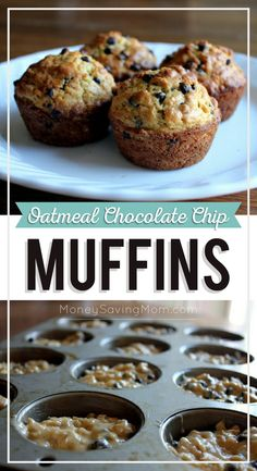 Oatmeal Chocolate Chip Muffins - Money Saving Mom® : Money Saving Mom® *Bethany - made these to freeze. Filling and delicious. Chocolate Chip Oatmeal, Mini Chocolate Chips, Chocolate Chip Recipes, Chocolate Cheesecake, Breakfast Recipes, Dessert Recipes, Easy Breakfast Muffins, Breakfast Potatoes, Mini Muffins