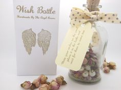 Grey and Pink Rose Bud Pearl Wish Bottle Message by TheAngelRooms