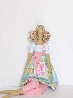 Pretty fabric doll in pale blue pink rose dress,blonde Tilda style,cloth doll art doll -cute stuffed doll, rag doll - gift for girls. $39.00, via Etsy.