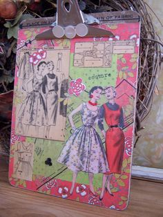 Altered Clipboard art using vintage pattern pieces, buttons and sewing notions.   http://www.etsy.com/listing/75303090/altered-clipboard-collage-sewing