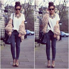 Paisley Platform Boots, Coosy Fluffy Jumper, Topshop Jeans, Asos Top, Mulberry Bag, Primark Necklace