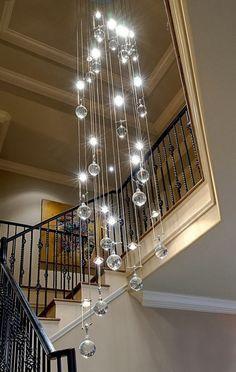 Creative Foyer Chandelier Ideas for Your Living Room  23 pics Interiordesignshome.com Modern chrome pendant foyer chandeliers