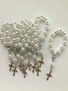 50 Pcs White Mini Rosary Favors/Baptism by PrimaCollectibles