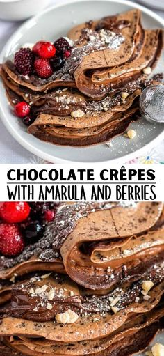 These delicious Chocolate Crêpes are perfect for an indulgent brunch or as a quick dessert and a great way to celebrate Pancake Day! Fill them with hazelnut spread spiked with Amarula Vanilla Spice for a grown up treat. Breakfast Sandwich Recipes, Delicious Breakfast Recipes, Savory Breakfast, Sweet Breakfast, Breakfast Time, Recipes Dinner, Brunch Recipes, Breakfast Ideas, Yummy Recipes