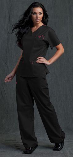 The real reason why I became a nurse, cute scrubs! Vet Scrubs, Dental Scrubs, Medical Scrubs, Nursing Scrubs, Scrubs Outfit, Scrubs Uniform, Nursing Clothes, Nursing Outfits, Black Scrubs