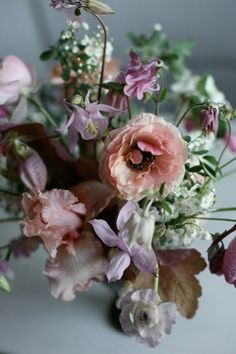The lavender columbine and the mauve lady slipper in this wildflower bouquet by Amy Merrick were handpicked from the woods surrounding her family's New Hampshire country house.