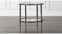 """Clairemont Round Side Table   24"""" round x 25"""" high, mirrored lower shelf $ 499.00 Crate and Barrel"""