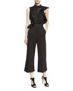 Sequin Sleeveless Wide-Leg Jumpsuit