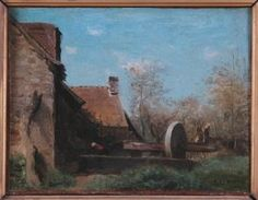 "Jean-Baptiste Camille Corot: ""Le pressoir de Domfront"", 1854, oil on canvas, Dimensions:	Height with frame in cm: 44,8  Width with frame in cm: 50,9  Thickness in cm: 8, Museum :	Boulogne-sur-Mer."