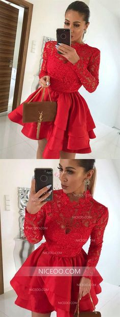 Red Round Neck Long Sleeves Mini Homecoming Dresses Lace Cocktail Dresses Source by alvarezrhon hoco Hoco Dresses, Cheap Prom Dresses, Party Dresses For Women, Cheap Wedding Dress, Girls Dresses, Formal Dresses, Inexpensive Homecoming Dresses, Affordable Bridesmaid Dresses, Mini Robes