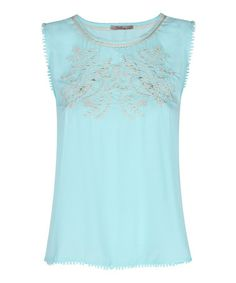 Look what I found on #zulily! Sky Blue Embroidered Emily Sleeveless Top #zulilyfinds