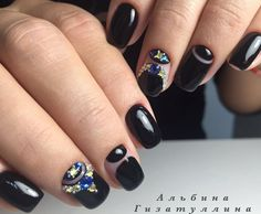 Evening dress nails, Evening nails, Exquisite nails, Half-moon nails ideas, Ideas of evening nails, Nails for a black evening dress, Nails ideas 2017, Nails with ornament