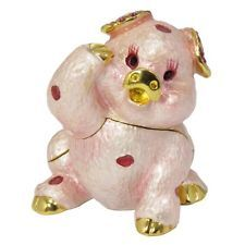 New Pink Pig Trinket Box Figurine Trinket Box With Swarovski Elements Crystals