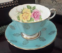 Vintage Paragon Teacup and Saucer  Teal Blue with Red by Tantiqi