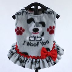 Items similar to Dog Sweater, Custom Made, Made to Order with Cute I Woof You Print on Gray Fleece Background, Perfect for Fall or Winter on Etsy Girl Dog Clothes, Puppy Clothes, Dog Coat Pattern, Dog Clothes Patterns, Dog Bag, Dog Sweaters, Dog Dresses, Dog Coats, Girl Outfits