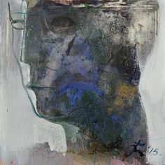 "Art by Serhiy Hai -- Blue/Gray Male Head; 2015; oil on canvas; 35"" x 35"" [SY 98]"