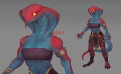 Fanart of new creature from WoW: Battle for Azeroth Humanoid Creatures, Weird Creatures, Fantasy Creatures, Fantasy Character Design, Character Inspiration, Character Art, Furry Art, Female Monster, Aliens