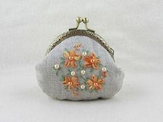 Embroidered linen coin purse, hand embroidered purse, orange floral linen pouch, silk ribbon embroidery, womens kisslock pouch
