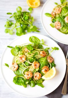 Garlic Shrimp with Chilli Pesto Pasta - A vibrant pasta dish, packed with a really flavourful green chilli pesto, some juicy garlic & black pepper shrimp and finished off with lots of baby spinach, watercress and a good squeeze of lemon juice.