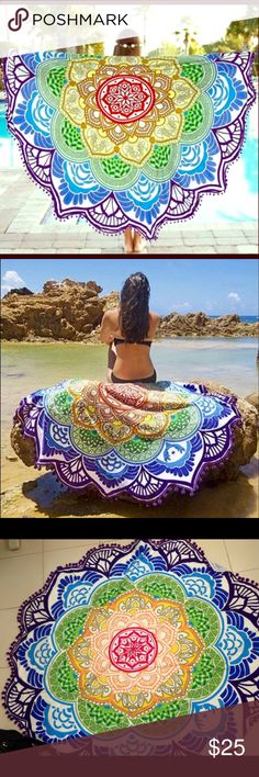 Bohemian Beach Wrap or Mat Yoga Chakra design, this hippy boho blanket is great as a table color, tapestry or blanket. Other