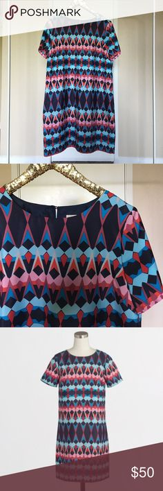 J. Crew geometric print shift dress GORGEOUS dress! Worn maybe once, lovely color combination. ❤️❤️❤️ J. Crew Dresses Mini
