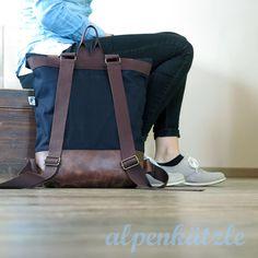 Rucksäcke - Rucksack Canvas Rolltop // marine-Leder - ein Designerstück von Alpenkaetzle bei DaWanda