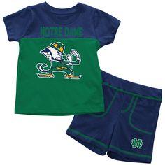 Notre Dame Fighting Irish Two Tone Football NCAA College Newborn Infant Baby Creeper