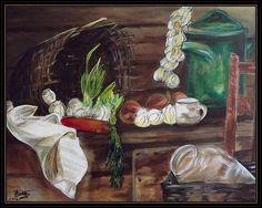 Hagymás csendélet Anna, Painting, Painting Art, Paintings, Drawings