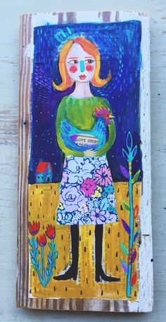 Small Folk Art Chicken Girl Painting on Wood Ready by evesjulia12