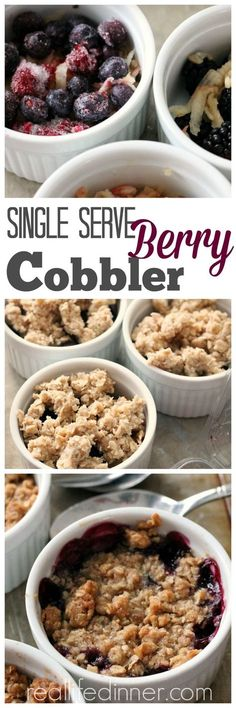 Whether you want one or twenty, This Easy Tried and True Berry Cobbler Recipe shows you how to make perfect single serving cobblers. Mini Desserts, Single Serve Desserts, Single Serving Recipes, Easy Desserts, Delicious Desserts, Dessert Recipes, Yummy Food, Healthy Food, Recipes Dinner
